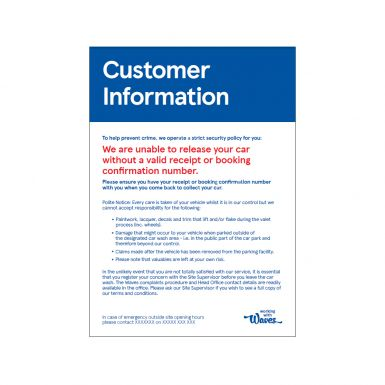 Customer Information Sign